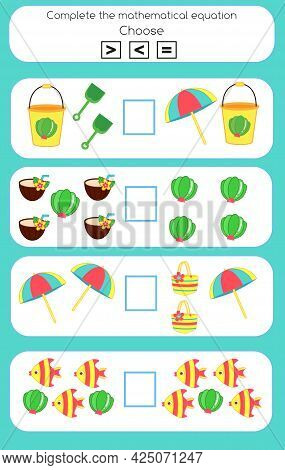 Mathematics Educational Game For Children. Learning Counting And Algebra Kids Activity. Complete The