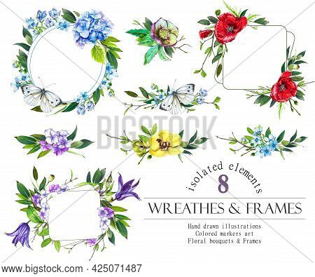 Floral Frameand Wreat Set. Poppy, Orchid, Hydrangea Flowers And Leaves Wreath, Bouquets.