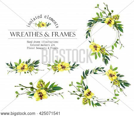 Yellow Floral Round Frame. Orchid Wreath, Bouquets
