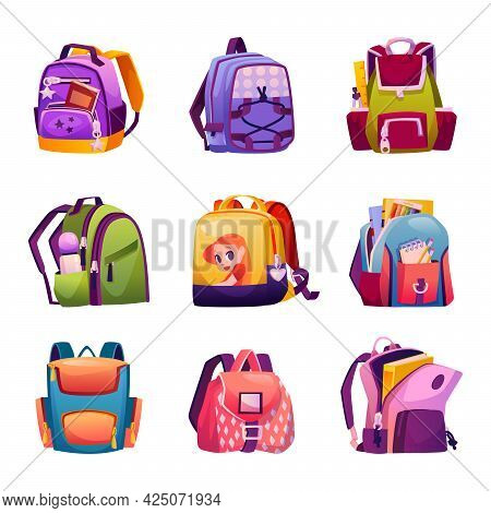 School Bags For Boys And Girls, Design And Models Of Boyish And Girlish Backpacks. Satchels With Sup