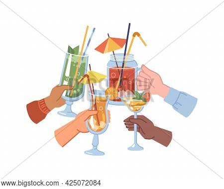 People Celebrating And Toasting, Happiness And Festivity. Isolated Hands Holding Cocktails With Deco