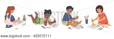 Children Playing And Drawing With Crayons, Isolated Boys And Girls With Pencils In Kindergarten Less