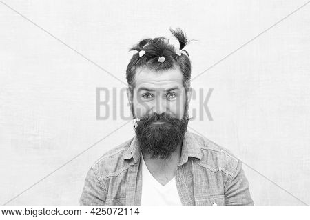 Comic Faces And Emotions. Positive Amazed Man. Funny Portrait Of Man With Funny Hairstyle. Barbersho