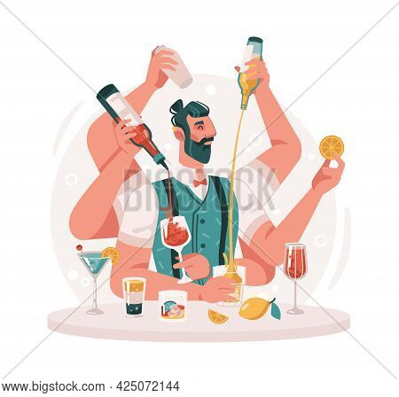 Virtuoso Bartender Making Cocktails And Mixing Drinks. Isolated Skillful Barman With Bottles Of Alco