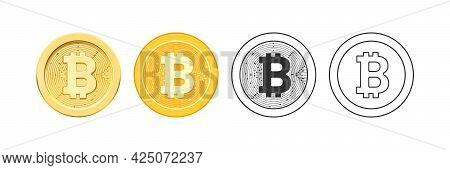 Decentralized Virtual Currency For Payment And Transactions, Isolated Bitcoin Icons In Realistic, Fl