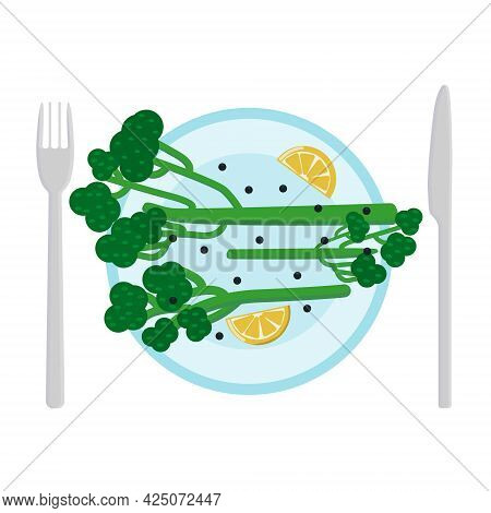 Broccolini On A Plate With Lemon Wedges And Black Pepper Peas On A Plate. A New Dish For Healthy Eat