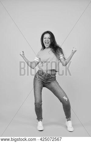 Scream Of Happiness. Happy Winner Yellow Background. Pretty Girl Feel Happiness. Sexy Woman Enjoy Ha