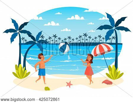 Summer Vacation Isolated Scene. Girl And Boy Playing Ball On Beach. Children Doing Sport Activities,