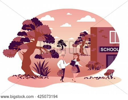 Children Go Back To School Isolated Scene. Classmates Go To Lessons Together. Students Learning And