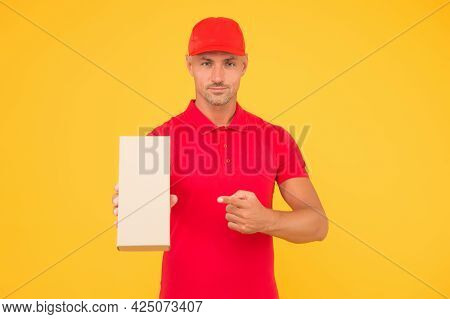 Perfect Delivery. Delivery Man Yellow Background. Express Delivery Courier. Parcel Post Package. Tar