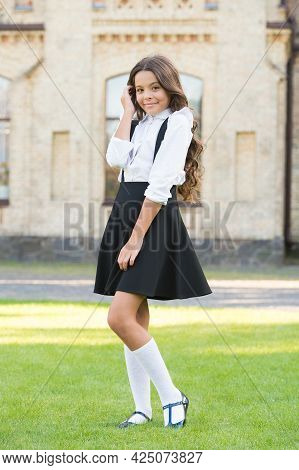 Shy And Charming. Happy Childrens Day. Elegant Look Of Schoolgirl. Kid In Uniform. Back To School. H