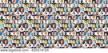 Many Happy Diverse Ethnicity Different Young And Old People Group Headshots In Collage Mosaic Collec