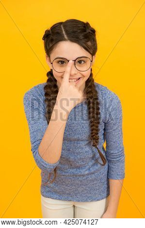 Protect Your Beauty. Happy Child Fix Glasses On Nose. Beauty Look Of Little Girl. Beauty Salon. Eye