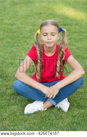 Create Your Dream Future. Cute Dreamer On Green Grass. Small Kid Day Dream Summer Outdoors. Little G