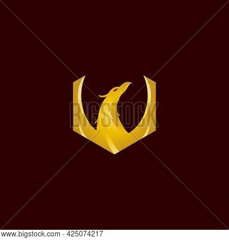 Golden Phoenix Vector Illustration For Icon, Symbol Or Logo. Logo Templates. Good For Business Brand