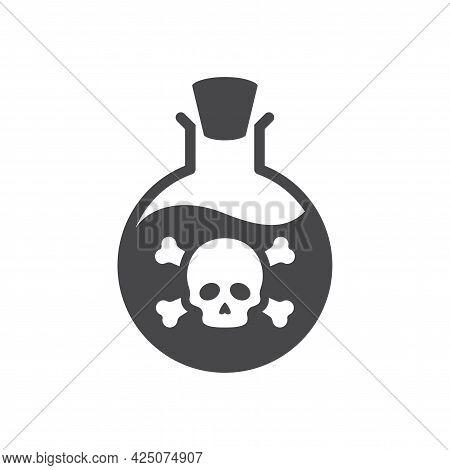 Bottle Poison Skull Icon Bones Round Flask.eps
