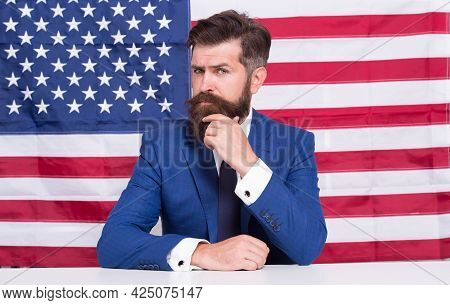 National Holidays. Celebration Of Victory. Bearded Hipster Man Being Patriotic For Usa. American Ref