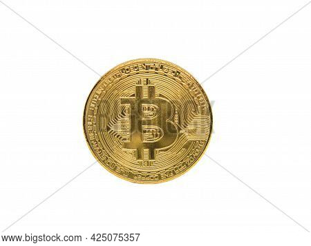 Golden Coins Of Bitcoin Cryptocurrency Digital Bit Coin Btc Currency On White Background.