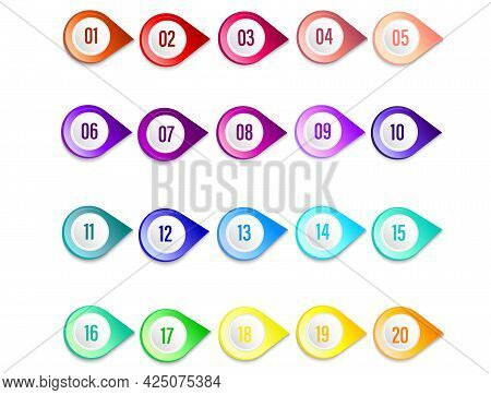 Set Of 20 Markers, Pointers. Infographic Icon. Indicator Points, Positioning Pin. Collection Of Colo