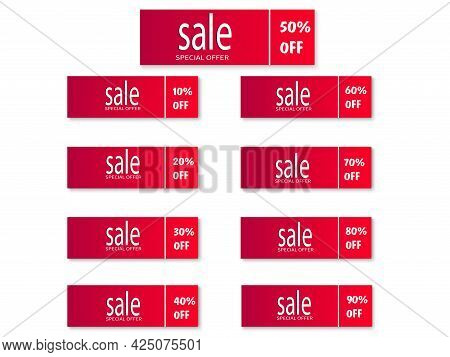 Set Of Red Stickers. Sale Of Ribbons, Banners. Collection Of Advertising Labels. Trading Tags, Disco