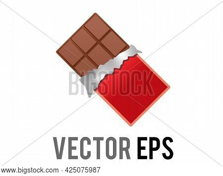 Vector Brown Block Of Dark Chocolate Bar Icon With Red Packaging