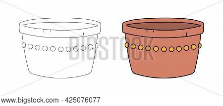 Empty Clay Flower Pot In A Simple Flat Graphic Outline Style. Linear And Color Illustration Of Hand-
