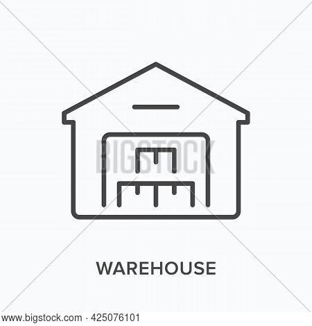Warehouse Flat Line Icon. Vector Outline Illustration Of Storage Building. Black Thin Linear Pictogr
