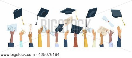 Multi Ethnic Hands Throwing Diplomas, Mortarboard Hats And Certificates, Graduation Celebration Flat