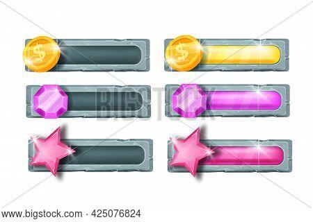 Game Bar Progress Vector Slider, Graphic Interface Design Elements, Golden Coin, Gem Stone, Star. Ca