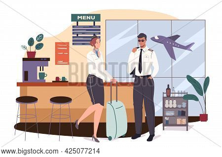 Airport Web Concept. Aircraft Crew Is Preparing For Flight. Stewardess With Suitcase And Pilot Waiti