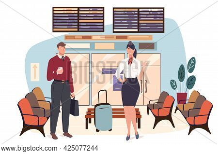 Airport Web Concept. Stewardess Is Preparing For Flight. Air Hostess With Luggage And Man Passenger