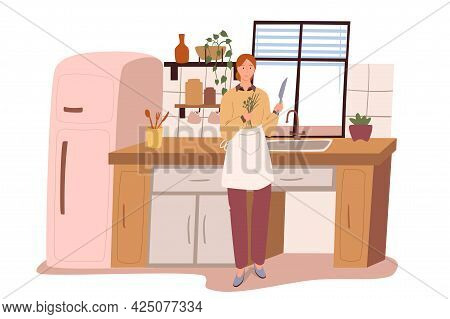 Modern Comfortable Interior Of Kitchen Web Concept. Woman Cooking In Room With Refrigerator, Table,