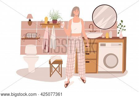 Modern Comfortable Interior Of Bathroom Web Concept. Woman Does Beauty Routine In Room With Sink, Mi