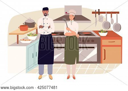 Restaurant Staff In Kitchen Web Concept. Chef And Assistant Cooking In Kitchen, Preparing Dishes At