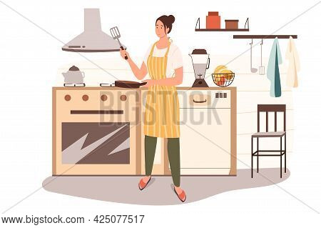 Woman Cooks At Home Kitchen Web Concept. Housewife In Aprons Prepares Breakfast, Bakes Pancakes In F