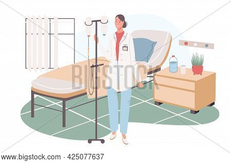 Medical Office Web Concept. Nurse With Dropper At Ward. Hospitalization, Rehabilitation, Intensive T
