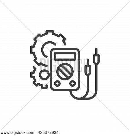 Electrical Engineering Line Icon. Linear Style Sign For Mobile Concept And Web Design. Digital Multi