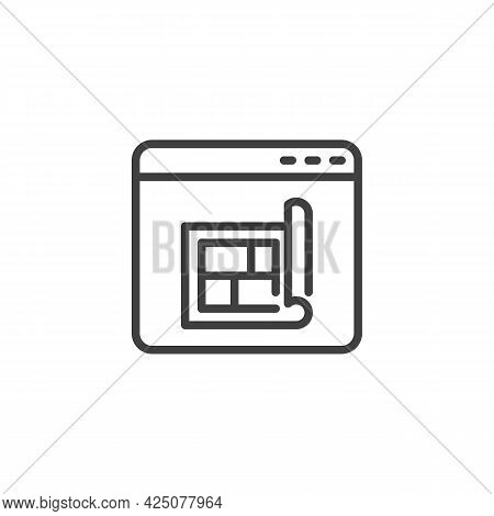 Online Home Planning Line Icon. Linear Style Sign For Mobile Concept And Web Design. Website With Ho