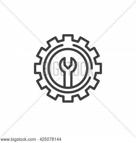 Technical Support Line Icon. Linear Style Sign For Mobile Concept And Web Design. Gear With Wrench O