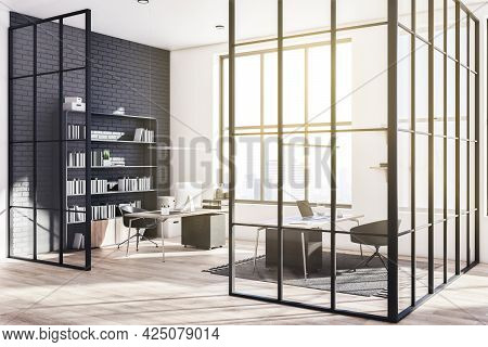 Designer Glass Office Interior With Panoramic City View, Sunlight And Large Bookshelf. 3d Rendering