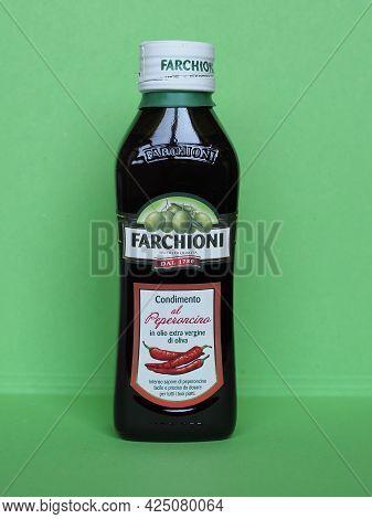 Perugia - Circa June 2021: Farchioni Bottle Of Chili Oil