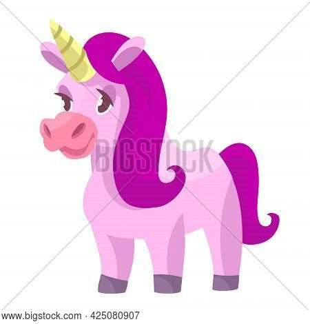 Standing Cute Unicorn. Fairytale Character In Cartoon Style.