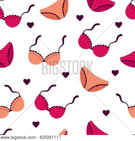 Seamless Pattern With Women's Underwear. Print For Textiles. Bras And Briefs On A White Background.