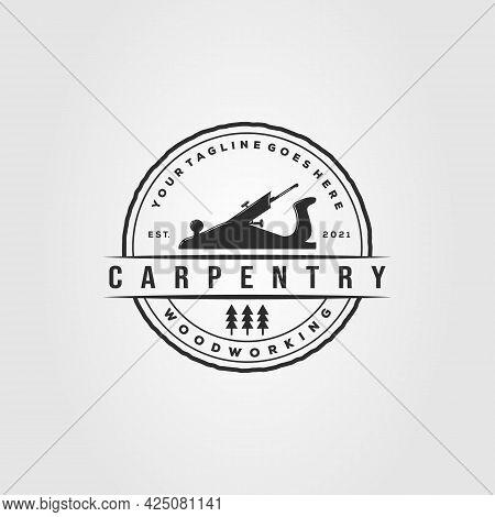 Planer Woodworking Carpentry Logo. Woodwork Carpenter Symbol Vector Illustration Design