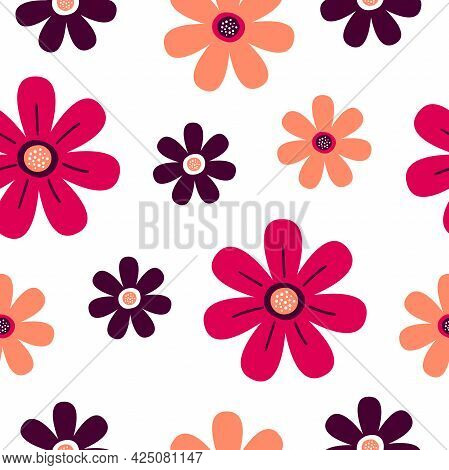 Seamless Pattern With Beautiful Stylized Flowers. Print For Textiles And Packaging. Vector Illustrat