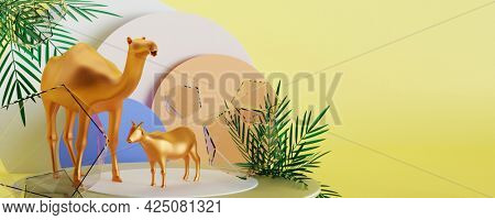 3D render of golden goat and camel against yellow background. Islamic festival of sacrifice Eid-Ul-Adha concept.