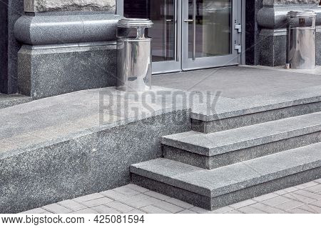 Granite Gray Porch Step With A Foot Mat At The Entrance To The Central Door Made Of Tempered Glass A