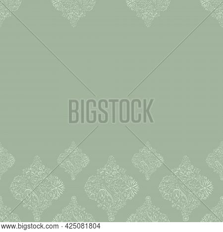 Vector Moroccan Floral Tiles In Sage Green Border Seamless Pattern Background. Perfect For Fabric, S