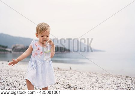 Little Girl Walking On A Pebble Beach With A Bottle Of Water In Her Hands