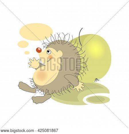 Satisfied Hedgehog. Green Apple. Sticker, Badge, Label With Quote . Lovely Happy Cute Character.